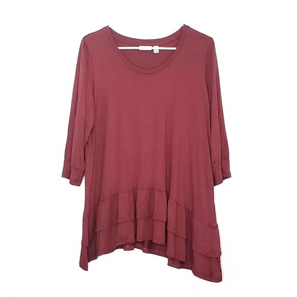 LOGO by Lori Goldstein Slub Knit Tunic Top Size L